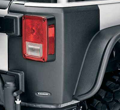 Trim-to-fit design works with Bushwacker Pocket-Style, Flat-Style and original fender flares. Integrates with factory taillights, gas cap and license plate for a streamlined look. Installs in minutes using automotive-grade high-bond tape and a no-drill process. Dura-Flex 2000 material ensures rugged protection. Available: 2007-2012 JK 2-Door 2007-2012 JK 4-Door - $119.99