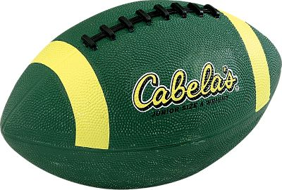 Camp and Hike Sporting the legendary Cabelas logo on both sides, these junior-size footballs are made of durable, inflatable rubber for long-lasting performance. Imported. Length: 10-1/2. - $8.88