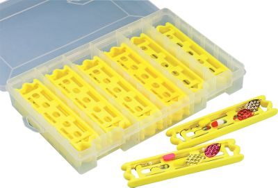 Fishing Keep your spinner rigs separate and ready for action with our snell-holding system. The 3600 18-piece kit organizes up to 36 rigs of virtually any length while the 3700 is a 30-piece kit accommodating 60 rigs. Holders have raised edges for easy stacking in the included utility box. Line-holding slots secure the tag end of your leader, and molded interior holes hold your hooks. Snells not included. Available: 18-pack snell-holder with Plano 3600 utility box 30-pack snell-holder with Plano 3700 utility box Size: 18 PACK SNELL HOLDER. Type: Utility Boxes. - $14.99