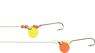 Fishing Choose these hot snell rigs with bright-colored line and flicker blades for potent fish attraction. Flicker blades add flash and vibration. Gold Aberdeen hooks. 15-lb. test line. 8-1/2 leader. Per 5. Sizes: 2, 4, 6. Style: Flicker Blades. Size: #6 FLICKER. Color: Gold. Type: Bait Rigs. - $2.99
