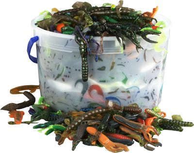 Fishing Our Gallon-Size Bass Bucket keeps you supplied with enough soft plastics for a season or more of successful bass angling. This bucket contains approximately 680 pieces of worms, frogs, lizards, and grubs at a great price. - $29.88