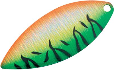 Fishing Give your lures and rigs the added flash and attraction of our new Holographic Willow-Leaf Blades. Using the latest technology, we fused these realistic shimmering-bright color patterns to our easy-spinning blades to give you an edge over your competition. The long, slender blade gives off maximum flash. Per 5. Sizes: 3-1/2 (1-1/2 ) 4 (2 ) Colors: (139)Blue/Scale, (077)Bluegill, (245)Blue Shad, (021)Firetiger, (662)Pink/Tiger, (138)Red/Flame, (589)Chartreuse Hologram, (146)Tiger Perch. Color: Chartreuse. - $1.88
