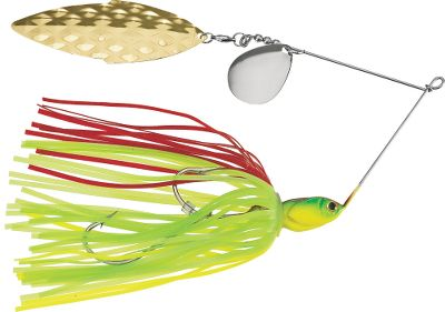 Fishing Unique head design prevents the bait from rolling, no matter what speed it's retrieved at - even if your wire has been bent. Fish love them. Made with 6/0 Nickel hook, molded eyes, 050-gauge wire and a ball bearing. Per each. Size: 1 oz. Colors: (001)Chartreuse, (007)Rainbow Trout/Red Black, (039)Firetiger/Chartreuse Orange, (069)Red Shad, (204)White Shad, (130)Orange Black/Chartreuse Orange. Color: Black/Chartreuse. Type: Spinnerbaits. - $9.99