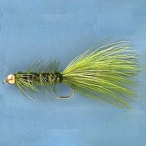 Flyfishing Versatile Woolly Buggers can be used on virtually any kind of fish. The gold bead head adds weight, flash and color to the Olive Bugger, making it even more enticing to fish. The tail is Olive Marabou with matching colored hackle. Per 12. Sizes: 2, 4, 6. Color: Olive. Type: Woolly Buggers. - $11.99