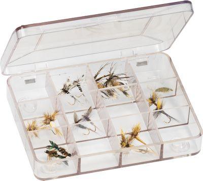 Flyfishing Boxes feature molded interlocking feet which allow you to snap two together to store comfortably in your vest. Lids have a positive snap so they won't open unexpectedly. Perfect storage for small to medium-sized flies. Constructed of high-density, space-age material and available in three different compartment variations. Each measures 4-3/8 x 3-1/2 x 3/4 . Sizes: 6, 8 12 Compartment Size: 8 COMPARTMENT. - $3.99