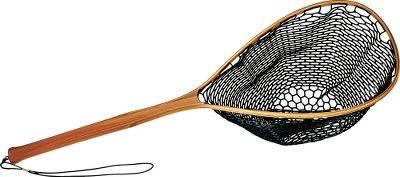 Flyfishing Our Boat Net has a rubber net bag that is less likely to damage a fish than standard netting. These come with hardwood bows with mahogany handles and a removable elastic cord. It is 42-1/2 overall with a 15 x 21-1/2 bow. Color: Mahogany. - $64.99
