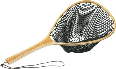 Flyfishing The Wooden Long Handle Net is perfectly sized for use in a float tube or pontoon boat where a boat net is too big and a regular net is too small. 30 overall length. 13 x 18 hoop with rubber net bag. Type: Landing Nets. - $49.99