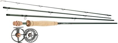 Flyfishing Save more than $100 when you pair an L-Tech Fly rod with a WLx reel loaded with Prestige Premier WF Floating fly line and Cabelas Prestige backing compared to purchasing the equipment in this combo separately. Our top-of-the-line L-Tech fly rods are among the lightest and most powerful on the market. Best of all, this high-tech performance is available at a price no other rods in their class can touch. The L-Techs innovative design required us to think outside the box. One look tells you these are not like any other fly rods. One cast will tell you the same. The primary goal was to reduce all unnecessary weight. During the design process, everything that could go is gone, leaving only a rod in its most pure and elite form. The exposed-blank reel seat is crafted of high-grade machined aluminum with a bronze finish and a techy look worthy of the design. The seat has two sections. The hood fits up into the cork handle. The threaded barrel section encloses the butt end of the blank. This eliminates the unnecessary weight of the middle insert. The bond with the blank remains as strong as conventional reel seats. The up-locking Delrin ring ensures the locking nut will snug the reel securely into place. A proprietary blend of IM6, IM7 and IM8 graphite achieves a balance between line-zipping fast action and lightweight strength. It flawlessly transfers energy between the backcast and forward cast, propelling line to your target with accuracy and sizzling speeds. L-Tech rods incorporate REC Recoil stripper guides made of nickel titanium alloy for added weight reduction and durability. Recoil guides always return to their original shape, wont corrode and are 50% lighter than other types of stripper guides. The remaining rod guides are a combination of titanium carbide double-foot snake guides and tip top. 25-year limited warranty. The WLxseries earns its elite position by exhibiting the same exacting machined tol Color: Bronze. Type: Fly Fishing Rod & Reel Combos. - $369.99