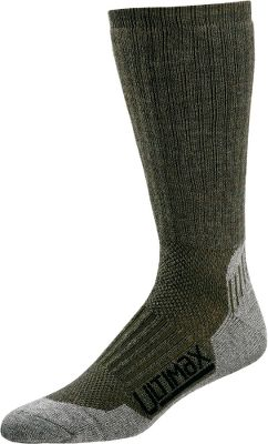 A longtime favorite for outdoorsmen with an updated 47% merino wool, 27% olefin, 20% stretch nylon and 6% Lycra fabric blend for superior moisture-wicking performance and warmth. Merino wool and olefin (a moisture-managing fiber) band together to transport perspiration from inside the sock to the surface where it evaporates quickly. The finer-grade Australian merino wool has long, supple fibers that dont irritate skin. The ankle- and foot-hugger designs make for a better fit that stays put throughout the day. Per pair. Made in USA. Height: 14. Weight: 4.5 oz. Wall thickness: 0.20. Mens sizes: M(6-8), L(9-12), XL(13-15). Color: Olive/Gray. Size: M. Color: Green. Gender: Male. Age Group: Adult. Material: Wool. Type: Socks. - $18.99
