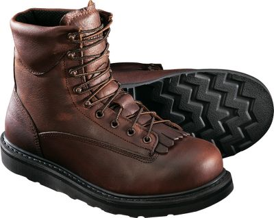 We know you demand durability from your work boots. We also know you hate to spend a small fortune for footwear that youre just going to beat the heck out of. Weve addressed those concerns with these rugged and affordable boots. Made with full-grain leather uppers and Goodyear welt construction, which provide a stable platform that can be resoled. Moisture-wicking linings, padded collars and removable cushioned footbeds cradle your feet in comfort. Vibram Cristy outsoles and EVA midsoles work together to cushion your every step. Steel-toe protection is ASTM C/75 I/75 certified. Imported. Height: 8. Average weight: 3.6 lbs./pair. Men's sizes: 8-14 D and EE widths. Half sizes to 12. Color: Brown. Size: 8. Color: Brown. Gender: Male. Age Group: Adult. Material: Leather. Type: Boots. - $69.99