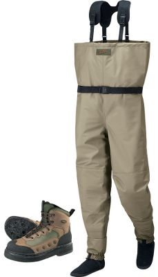Hunting Now you can save when you order any of our best-selling Premium Waders and Ultralight Wading Boots together. Imported. Our Mens Premium Breathable Waders with 4MOST DRY-PLUS are recognized for quality and are offered at a price much lower than you would expect. Every model has a super-tough, tightly woven microdenier nylon shell and triple-layer knees for maximum protection from abrasion and puncture. All seams are taped inside and out for 100% waterproof reliability. The Stockingfoot waders boast a neoprene bootie specially shaped and contoured for all-day comfort. The nylon gaiter has a rubberized elastic cuff and rustproof lace hook. Chest-High models have a drawstring top, removable neoprene suspender system, spacious internal pocket for valuables and fly boxes and a wading belt for safety. Includes a nylon stuff bag. Mens sizes. Color: Tan. Weve upgraded our Ultralight wading boots with high-grade components to make them more versatile and more durable than ever. The nylon/synthetic uppers are built on a top-notch last with a base that accommodates a wide variety of foot widths. Molded EVA midsoles increase cushioning and support. Rugged uppers sport the added scuff and abrasion resistance of our Wade Guard on the toes and heels. Double and triple stitching in high-stress areas reinforces durability. Screw the included studs into the high-density felt soles rubber cavities for extra traction on slippery rocks. Side mesh panels let water drain, while keeping out sediment. Neoprene tongues for maximum comfort and minimal weight. Height: 8-1/2. Weight: 2.4 lbs./2. Mens whole sizes. Color: Brown Olive. Size: XX-LARGE. Color: Tan. Gender: Male. Age Group: Adult. Type: Wader / Boot Combo. - $204.99