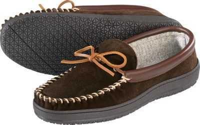 Entertainment Keep the chill off your feet when its time to chill out at home. Thinsulate Insulation has long been recognized by outdoor enthusiasts as a superior insulator, and now your feet can enjoy its warmth while you relax. The uppers of these slippers are supple, yet durable cow-suede leather with a rich saddle-leather collar. A 360 rawhide lacing system ensures a snug, comfortable fit. Sandwiched between the leather outside and soft, synthetic rag sock lining is a layer of 100-gram Thinsulate Insulation. Traction comes from a nonmarking indoor/outdoor outsole. Imported. Mens whole sizes: 8-14 medium and wide widths. Colors: Brown, Wicker. Size: 14. Color: Wicker. Gender: Male. Age Group: Adult. Material: Leather. Type: Slippers. - $29.99