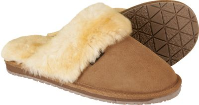Entertainment Plush shearling wool pampers your feet when you slip on these cozy scuffs. The fine, soft shearling wool linings and footbeds offer cozy warmth, unmatched softness and breathable comfort. Supple Roughout sheepskin uppers accented with shearling collars. Sturdy outsoles for indoor/outdoor use. Imported. Womens whole sizes: 6-11 medium width. Color: Wicker. Size: 10. Color: Wicker. Gender: Female. Age Group: Adult. Material: Wool. Type: Slippers. - $37.49