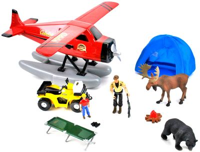 Camp and Hike Take your adventure to the backcountry. Includes a float plane with opening doors, real-fabric tent, cot, cooler, fire pit, grizzly bear, moose, ATV with working tow winch, rifle, and father and son action figures. Ages 3 and up. Type: Play Sets. - $29.99