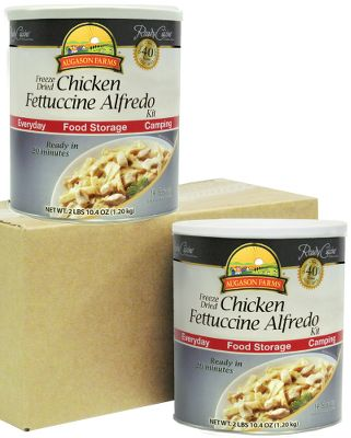 Simply add water, cook and enjoy Chicken Fettuccine Alfredo in minutes. Ideal for food storage and everyday use. Store in a cool, dry place at temperatures between 50 F and 60 F. 25-year shelf life. 2-pack of 42.4-oz. cans.Made in USA. - $54.99
