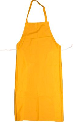 Protect your clothing while cleaning fish, processing game or preparing all the fixings for your next barbecue. This tear-resistant, yellow PVC apron offers great splash protection and its construction makes it resistant to oils, grease and fat. Lightweight and flexible, it's a comfortable and affordable way to keep clothes clean. Imported. Dimensions: 47 L x 35 W. Color: Yellow. - $14.99