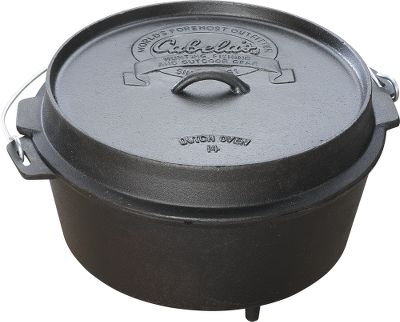 Tri-Leg Dutch Ovens can be hung over a fire by their bail handles or stacked on other Dutch ovens. They have a thermometer slot that allows you to check internal temperatures without removing the lid. Note: Capacities listed are for the pot only and do not include the capacity of the lid. Color: Black. Type: Dutch Ovens. - $49.99