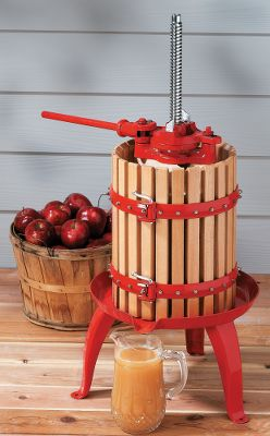 Unlock the flavors hidden in apples, grapes and other fruits by preparing ciders and wines. The screw-down method of pressing is one of the oldest and most efficient ways to tap the natural tastes of your favorite fruits for tasty beverages made at home. Simply place the fruits in the juicing basket, cover them with the wood pressing board and crank the handle down. As the board squeezes the fruit, the juice escapes through the wooden slats down to a built-in spout for mess-free removal. The rachet mechanism provides leverage and power to extract the maximum amount of juice. Tripod base has bolt-down feet for easy one-person operation. Powder-coated cast-iron construction resists rust and deterioration caused by the citric acids and sugars found in most fruits. Overall dimensions: 21-1/2 dia. x 36-1/2H. Weight: 60 lbs. Color: Natural. Type: Accessories. - $229.88