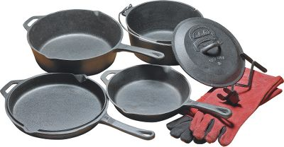 Camp and Hike A quick, affordable way to get started in cast-iron cooking. The five pieces included with this kit will enable you to prepare a wide range of dishes - at home and in the field. And they're all pre-seasoned, so they're ready to use right out of the box. The kit includes a 10 skillet, 5-qt. camp oven with a lid that fits the 10 skillet as well, 12 deep skillet with a lid that reverses to a round griddle; Dutch oven lifting tool and heavy-duty leather cooking gloves. Color: Black. Type: Cast-Iron Sets. - $81.19