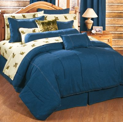 Entertainment Get the same laid-back relaxation that you get wearing your favorite blue jeans with our new denim bedroom mini comforter sets. All items are made of 100 cotton denim that's been stonewashed for a broken-in feel. The 10-oz. denim is embellished with double-needle contrast-stitch detailing. Each set includes a comforter and two shams (Twin and Twin XL include one sham). 100 polyester filling. Double-stitched knife edge on comforter. Machine washable. Made in USA. Available: Twin (65 x 90 ) Twin XL (65 x 94 ) Full (80 x 90 ) Queen (86 x 94 ) King (104 x 94 ) California King (98 x 98 ) Size: TWIN. Color: Blue. - $119.99
