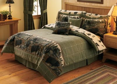 Hunting North American E-Z Bed Sets add woodsy outdoor accents to any bedroom. A bevy of black bears adorn this panoramic border print. Perfect for the outdoor-inspired decorator. The E-Z Bed Set includes comforter, sheet set, bed skirt, two pillow shams (Twin includes one) and two toss pillows. The face of the Comforter is 100% cotton duck with a 70/30 polyester/cotton backing with high-loft polyfill. Dry-clean only. The Bed Skirt is made of 100% cotton duck material with a 14 drop. Shams are crafted from 100% cotton duck fabric. Both sham sizes have a 2 flange. Square Toss Pillows are reversible with imagery on one side and a coordinating pattern on the reverse side. The sheets in the Sheet Set are a soft and durable 180-thread-count polyester/cotton blend. Includes a fitted bottom sheet, flat sheet and two pillowcases (Twin includes one). Machine washable. Made in USA. Sizes: Twin, Full, Queen, King. Comforter sizes: Twin (66 x 86), Full (80 x 90), Queen (92 x 96), King (110 x 96). Bed skirt sizes: Twin (39 x 75), Full (54 x 75), Queen (60 x 80), King (78 x 80). Sham sizes: Standard (27 x 33), King (27 x 43). Toss pillow size: 18 x 18. Size: TWIN. Color: Black. - $199.99