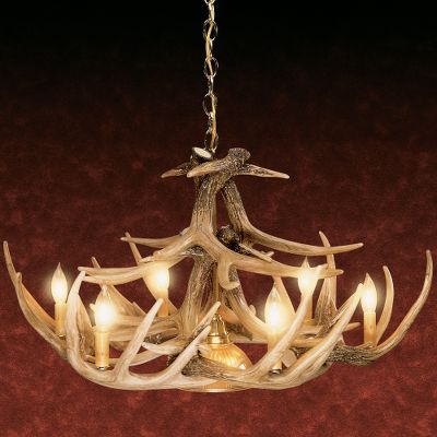 Hunting Our 30-, 24-, 12- and nine-antler whitetail chandeliers with down lamps create a perfect atmosphere for use over a dining room table. These chandeliers are professionally handcrafted from reproductions of real antlers. Plus, they are a fraction of the cost of real antler chandeliers. Each antler is made of a medium-density polyethylene material that is lighter in weight than conventional antlers and just as durable. Hand-stained and -rubbed to achieve the authentic look of natural antlers. Candelabra-style lights utilize 25-watt candle lights to create a warm, natural look in any room. (Lights sold separately.) Elegant brass hanging chain secures chandelier to the ceiling. Down lamps are perfect for a dining room or reading area. Includes mounting hardware and ceiling plate. 24- and 30-Antler models shipped by truck. Made in USA. Available: 9-antler (32W x 12H). 12-antler (32W x 16H). 24-antler (40W x 24H). 30-antler (50W x 27H). Color: Natural. Type: Chandeliers. - $499.99