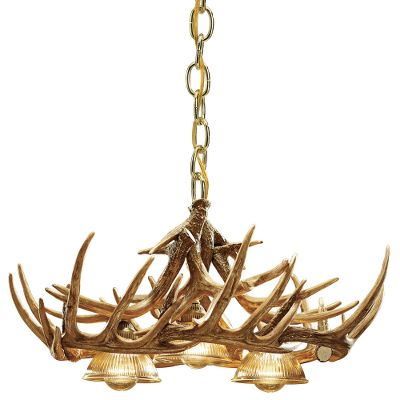 Hunting This oblong chandelier is fashioned to hang perfectly over large dinner tables or pool tables. And its professionally handcrafted from reproductions of real antlers. Plus, its a fraction of the cost of a real antler chandelier. Each antler is made from a medium-density polyethylene material that is lighter in weight than conventional antlers and just as durable. Hand-stained and -rubbed to achieve the authentic look of natural antlers. Three down lamps create plenty of light below. (Lights sold separately.) Elegant brass hanging chain secures chandelier to the ceiling. Includes mounting hardware and ceiling plate. Shipped via truck. Made in USA. Measures: 30-1/2L x 25W x 14H. Color: Natural. - $423.99