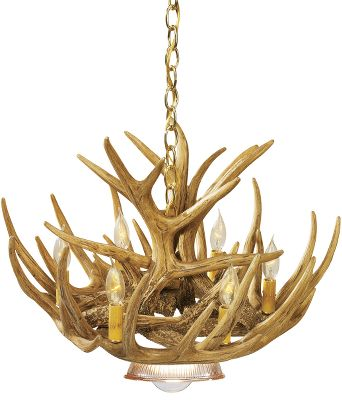 Hunting Affordable and realistic, our reproduction antler chandelier will add a touch of the outdoors to any hallway, den, living room or dining room.Its professionally handcrafted reproductions of real antlers. Plus, they are a fraction of the cost of real antler chandeliers. Each antler is made of a medium-density polyethylene material that is lighter in weight than conventional antlers and just as durable. Hand-stained and -rubbed to achieve the authentic look of natural antlers. Features a down lamp thats ideal for use over a dining room table. Candelabra-style lights utilize 25-watt candle lights to create a warm, natural look in any room. (Lights sold separately.) Comes with an elegant brass hanging chain. Includes mounting hardware and ceiling plate. Made in USA. Measures: 24W x 15H. Color: Natural. - $463.99
