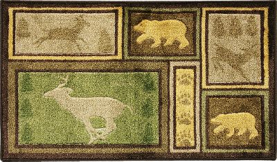 Nature is sometimes best viewed through the interpretive expression of art, which is why this 2-1/2-ft. x 4-ft. Wilderness Area Rug depicts a beautiful balance between wildlife-scene prints and rustic reds, sage and forest greens, among other earthy colors. These symmetrically printed scenes are chromajet-printed on a plush-cut pile, hand-carved textured, 100% durable nylon fabric that has a skid-resistant, latex backing. Machine wash if needed. Imported. Size: 2-1/2 ft. x 4 ft. Designs: Wilderness Lodge, Woodland Escape. Color: Sage. Type: Indoor Rugs & Mats. - $49.99