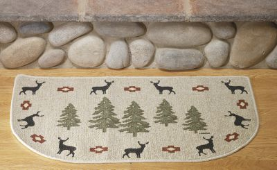Hunting More than just a place to wipe your feet, these rugs are decorated with symbols of nature to give visitors the proper welcome into the home of an outdoor enthusiast. Each has a skid-resistant Stic-Tite back for added safety. Constructed of 70% Nylon 30% Polypropylene fibers. Machine washable. Imported. Size:40L x 22.4W. Available: Chickadee Border. - $19.99