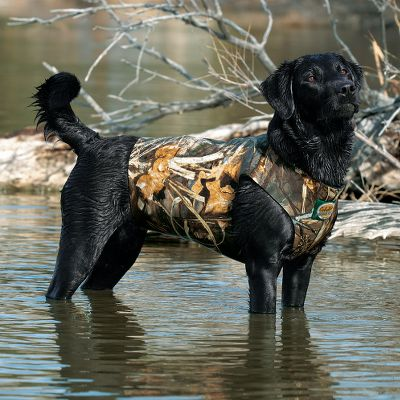 Hunting We re-engineered our neoprene vests to provide a custom fit and added durability. The seams have been enhanced with extra bar tacks for making custom cuts, plus the Velcro closure has been widened for increased adjustment in fit. The 5mm neoprene construction will stand up to in-the-field hazards and adds buoyancy for your dog. Our deluxe vest has camo patterns to cover all hunting situations, plus a size 3XL for larger dogs. Since dogs come in all shapes and sizes, not all of them fall perfectly within the guidelines of our sizing chart. When ordering, choose the size that coincides with the largest sizing bracket reached by any one of your dogs three measurements. Size: MEDIUM. Color: Max 5. Type: Dog Vests. - $26.88