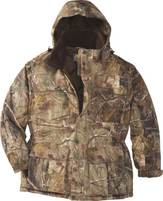 Hunting 200-gram Thinsulate Platinum Insulation for warmth. Four large cargo pockets two on the chest and two lower for plenty of carrying space for ammo, binoculars and other gear. An interior pocket keeps valuables secure. The three-piece hood is removable and features a drawcord adjustment and a hook-and-loop-secured beard guard. The collar is lined with soft warm fleece. Hook-and-loop-adjustable cuffs allow for a snug, weatherproof fit. Imported. Sizes: M-5XL. Camo patterns: Mossy Oak Break-Up Infinity, Realtree XTRA, Cabelas Zonz Woodlands. Size: 3XL. Color: Zonz Woodlands. Gender: Male. Age Group: Adult. Pattern: Camo. Material: Fleece. - $72.49