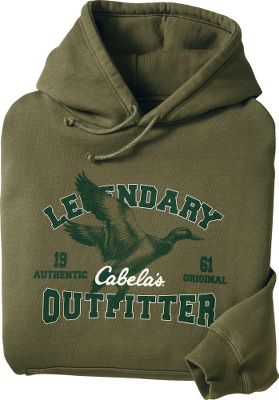 Hunting Be a part of Cabelas outdoors legend. Pre-washed for a soft, worn feel. 8020 cottonpolyester jersey fleece with rib-knit cuffs and hem. Kangaroo pocket. Legendary Outfitter screen print. Machine washable. Imported.Sizes: M-3XL. Prints: Mule Deer, Elk, Mallard, Float Plane, Lab, Whitetail. Size: MEDIUM. Gender: Male. Age Group: Adult. Pattern: Graphic. Material: Jersey. Type: Hoodies. - $9.99