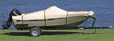 Weve taken our most popular boat-cover fabric and created an affordable, yet durable, alternative to semi-custom-fitted covers. Its crafted of the same tan 600-denier polyester with a polyurethane coating for resistance to water, stains, UV light and mildew. Nylon straps attach to the frame of your trailer with quick-release buckles. Sewn-in elastic band at hemline allows for a sung fit. Reinforcements at the bow and stern ensure superior durability. Match your boat model to one of six cover sizes. Includes free mesh storage bag. Cabelas return policy applies. Imported. Color: Tan. Type: Boat Cover. - $129.99