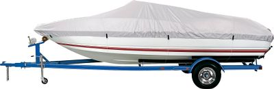 Reliable weather-blocking protection for your boat doesnt have to be expensive. This affordable cover is constructed of rugged 150-denier reflective silver polyester that shields your interior from the effects of sun, dirt and moisture. Reinforcements at the bow and stern make it tough enough for use while trailering. Includes a mesh storage bag. Cabelas return policy applies. Imported. Color: Silver. Type: Boat Cover. - $54.99