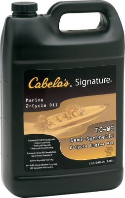 Fitness Cabelas Signature Oil is the only TC-W3 two-cycle oil that provides all these features to protect and enhance the performance of your outboard: smokeless combustion, inherent gel resistance, clean-burning detergent additives, increased lubricity by using synthetic additives, and low aquatic toxicity. This formula greatly exceeds tough TC-W3 requirements, surpassing all outboard manufacturers stringent warranty requirements. A unique blend of synthetic and mineral-based oil stocks and rust and oxidation inhibitors compounded with next-generation lubricity and viscosity enhancers will extend the performance and service of all two-cycle engines. An elite detergent additive keeps your engine running clean, even when burning low-grade fuels. Lower aquatic toxicity means Signature oil can be present in the water at significantly higher concentration levels than other oils before impacting fish populations. Designed for any oil-injection, direct fuel injection or pre-mix application. Available: Quart, Gallon. Color: Rust. Type: Two-Cycle Oil. - $9.99