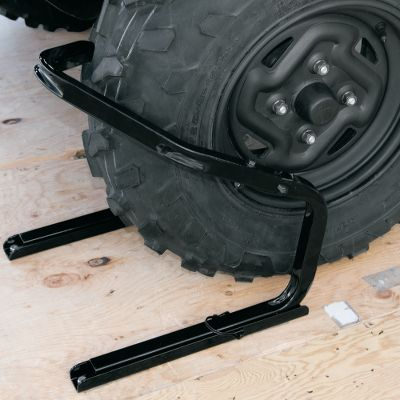 Wheel chocks are an easy way to stabilize an ATV inside of a truck bed or trailer when traveling on rough roads or long trips. These are crafted of durable steel tubing and are powder-coated for lasting resistance to rust and corrosion. Mounting plates are fastened to your truck bed or trailer. The chocks are easily removed using quick-release fasteners. Fits tires up to 12 wide. Per 1. Color: Rust. - $39.99