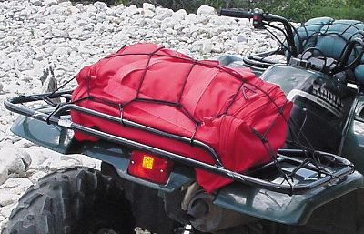 The ATV Cargo Net fits all sizes of ATV racks and secures the most awkward and uneven loads. Once the web is spread over your equipment and attached to your rack at multiple points with 10 heavy-duty hooks, even heavy trail jarring won't shake your cargo loose. The netting starts at 15 x 30 and stretches to a spacious 22 x 36 . Type: ATV Accessories. - $9.99