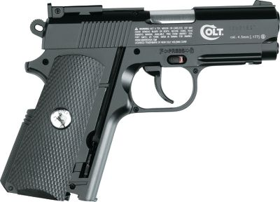 An all-metal, easy-to-operate scale model of Colts popular compact semiautomatic pistol that uses compressed air to shoot BBs up to 440 fps. It looks and feels just like the full-power model, complete with a spring-powered grip release, fixed sights and a weight of 1.6 lbs. The grip houses a compartment for a standard CO2 cylinder. The magazine holds 16 BBs. .177 caliber BBs only. - $59.99