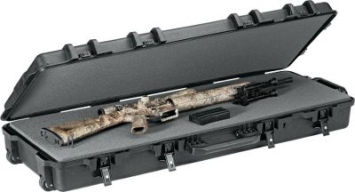 Hunting Protect your hunting rifle or tactical firearm from the elements and abuse inside a gun case engineered to meet or exceed law-enforcement and military standards. It is constructed of injection-molded, high-impact, custom-formulated resin thats practically impervious to extreme weather and the extreme handling encountered during travel. Waterproof, dustproof and O-ring sealed, it has a pressure-release valve to equalize pressure inside and outside during air travel. Customizable, high-density foam interiors cradle your firearms securely. Powder-coated steel draw latches snap the cases shut securely. Case is padlock compatible. Collapsible comfort-grip handle makes carry easy. Lifetime warranty. Meets airline requirements. Made in USA. External dimensions: 47.25L x 17.25W x 7H. Internal dimensions: 44L x 15W x 6.75H. Wt:21.74 lbs. - $154.99