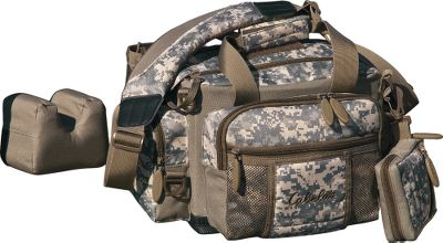 We Took Tactical and Made it Practical Cabelas Range Bag has a soft-shell case thats lightweight and less cumbersome than hard-shell cases for easy carry to the range. 600-denier high density polyester construction. All the features required for the range, and more! The foam rest is supported by internal folding panels and removes instantly for mobile use. There are pockets for virtually anything youll need on the range, including a fold-out spent-brass compartment with supports, a detachable rangefinder pouch with tool loops. Made of ballistic nylon. Imported. 15L x 13H x 10D (with brass bag stowed). Available: Black. Size: BLACK. Color: Black. - $34.99