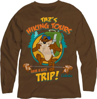 Camp and Hike Give your adventurer the perfect tee for camping, hiking or roasting marshmallows. Design features a screen-printed image of Taz along with the Cabelas logo. 100% cotton. Imported. Sizes: 2T, 3T, 4T, XS-XL. Color: Brown. Type: Long-Sleeve Tee Shirts. Size: 3T. Size 3t. Color Brown. - $9.88