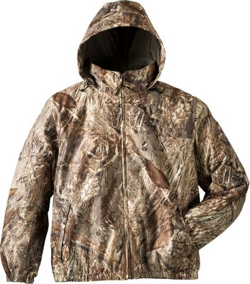 Hunting A jacket system that keeps you comfortable throughout waterfowl season because you can wear it four different ways. The outer jackets microbrushed-tricot shell is quiet and breathable with polyurethane lamination for waterproof protection. Taffeta lining glides easily over layers. Attached adjustable hood for added defense against the elements. Two front waist pockets. Full-length front zipper. Half elastic sleeve cuffs with Velcro tab adjustment to keep water out when youre shooting upward in precipitation. The removable and reversible liner jacket has a water-resistant taffeta shell on one side and a brushed-tricot shell on the other. Full-front zipper. Two front handwarmer pockets at the waist. Warm polyfill insulation. Wear the outer and inner jackets together for optimal comfort in extreme weather. Wear the outer shell alone during hunts when its mild but theres a chance of rain. Wear the inner jacket alone for mild hunts with your choice of the water-resistant or tricot side facing outward. Four ways to wear one system that you can tailor to the hunting conditions you face. Imported. Sizes: M-2XL. Camo pattern: Mossy Oak Duck Blind. Size: LARGE. Color: Mossy Oak Duckblind. Gender: Male. Age Group: Adult. Material: Taffeta. - $44.88