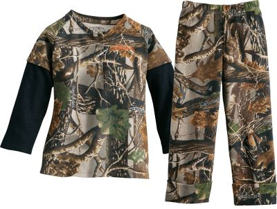 Hunting Its never too soon to get your child into camo. This clothing set boasts authentic camouflage patterns, high-quality construction and a softness thats sure to please. Camo tee with solid-color waffle-knit hangdown sleeves, three-snap closure and embroidered logo. Camo pants with elastic waistband and turn-up cuffed leg openings. 100% cotton. Imported. Sizes: 0-3 mo., 3-6 mo., 6-12 mo., 12-18 mo., 2T, 3T, 4T. Camo patterns:Seclusion 3D/Black, Realtree APC (Pink). Size: 0-3 MONTH. Color: Seclusion 3D. Age Group: Kids. Pattern: Embroidered. Material: Cotton. - $8.88