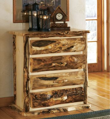 Entertainment If you love the gnarly, knotty character of weathered wood, you will love the look of our unique handcrafted bedroom furniture. The chest is individually crafted by master furniture makers known for bringing out the best this wood has to offer. They are hand-sanded, then rubbed with beeswax and linseed oil to bring out their natural shine. The mortise and tenon construction in each joining piece ensures strength and product longevity. The Old-World construction and finishing techniques will provide years of enjoyment. Four-Drawer Chest shown, sold separately. Made in USA. 51H x 40W x 21D. Color: Natural. - $1,899.99