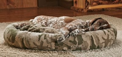Hunting Give your pet 360 of camo-style comfort. The plush beds cover is made of Cabelas Outfitter Berber fleece. The reversible pillow insert is removable for use in another room. High-loft 100% polyester fill keeps pets warm and off cold floors. Removable zippered cover for care. Machine washable. Imported. Sizes: Medium: 30L x 24W x 5H. Large: 36L x 27W x 7H. X-Large: 42L x 30W x 8H. Camo pattern: Outfitter Camo. Size: MEDIUM. Color: Camo. Type: Dog Beds. - $89.99