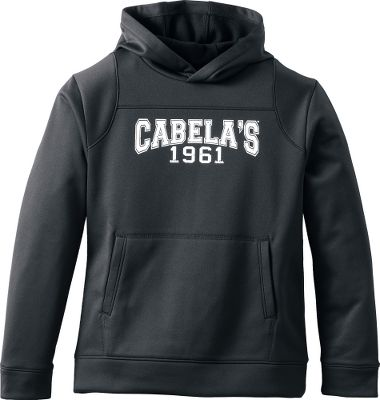 Super-comfortable and warm, our fleece hoodie is ready for your kids outdoor adventures. Anti-pilling 100% polyester fleece construction with a collegiate-style Cabelas logo on the front. Midweight fabric is brushed inside for warmth and wicks moisture away to keep kids dry and comfortable. The drawcord hood, kangaroo pocket, self-fabric cuffs and waistband, and tagless neck add to the comfort and kick-back style. Imported.Sizes: XS-XL.Colors: Black, Emerald Teal. Type: Hoodies. Size: Small. Color: Emerald Teal. Size Small. Color Emerald Teal. - $24.88