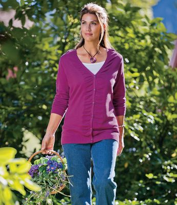 Made of a soft 60/40 cotton/acrylic jersey blend, this flat-knit cardigan is incredibly comfortable, with a flattering V-neck and ruching at the center closure. Ribbed cuffs and hem keep it comfortably in place. Imported. Center back length: 28.25. Sizes: S-2XL. Colors: Cape Code Blue, Ripe Berry. Size: Small. Color: Ripe Berry. Gender: Female. Age Group: Adult. Material: Denim. Type: Sweaters. - $19.88