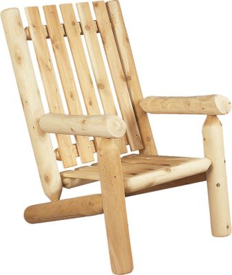 Camp and Hike Straight, clean lines and traditional log styling make this roomy high-back armchair an attractive and welcome addition to your porch, patio or deck. Its constructed of solid Northern white cedar, a wood that is naturally resistant to weather, decay and insects. The wood is sanded smooth and kiln-dried for easy painting or staining, or leave it untreated and allow it to weather naturally to a silvery gray color. The chair features strong mortise and tenon joinery, and is easy to assemble. Imported. Dimensions: 34H x 26W. Weight: 40 lbs. Color: Natural. - $279.99
