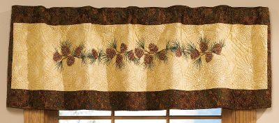 Entertainment Complete your lodge look with an eye-catching Donna Sharp valance. The aesthetic blend of complementing colors and pine cones perfectly accents any rustic theme. Imported. Dimensions: 15 x 56. Gender: Male. Age Group: Adult. - $49.99